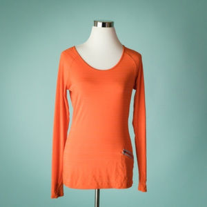 Athleta XS Orange Base Layer Long Sleeve Top